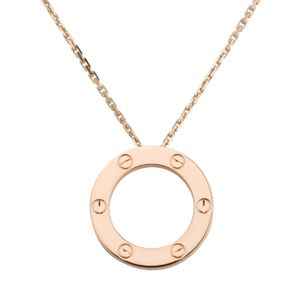 New Screw Love Circle Necklace Pink Rose Gold